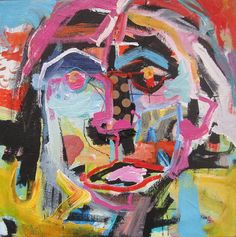 Portrait with Polka Dot Nose................Original painting by Michelle Daisley Moffitt