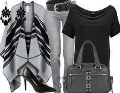 Très tendance cette tenue de travail classe grise et noire ! On aime la cape… Casual Work Outfits, Work Attire, Work Casual, Summer Outfits, Fashion Mode, Girl Fashion, Fashion Outfits, Womens Fashion, Everyday Outfits