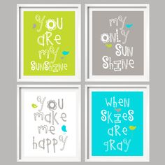 You Are My Sunshine in Lime green, Gray and Turquiose, 4 prints 8x10 nursery art, baby shower gift. $59.99, via Etsy.