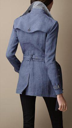 Spring/Summer holiday jacket. Burberry Brit - short polka dot undercollar trench coat.