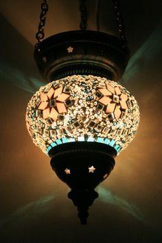 MEDIUM TURKISH MOROCCAN MOSAIC HANGING LAMP PENDANT LANTERN TEA LIGHT GIFT