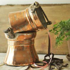 old copper ribbon jar