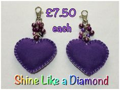 Purple Heart bag charm  https://www.facebook.com/pages/Shine-Like-a-Diamond/1518072811757777