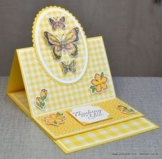 card making techniques step by step Butterfly Easel Card Video - JanB Cards Card Making Tutorials, Card Making Techniques, Making Ideas, Making Cards, Card Making Inspiration, Fancy Fold Cards, Folded Cards, Joy Fold Card, Handmade Birthday Cards