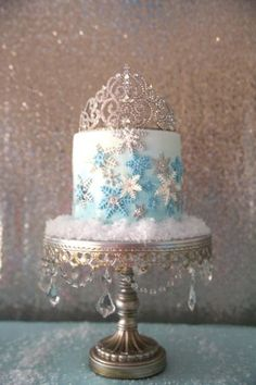 Pretty cake at a Frozen birthday party! See more party planning ideas at… Disney Frozen Party, Frozen Birthday Cake, Frozen Theme Party, Disney Birthday, Frozen Birthday Party Supplies, Birthday Ideas, 2nd Birthday Parties, Birthday Cakes, Girl Birthday