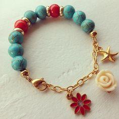 Blue bracelet by Luz marina Valero Gemstone Bracelets, Handmade Bracelets, Gemstone Jewelry, Jewelry Bracelets, Boho Jewelry, Jewelry Crafts, Beaded Jewelry, Jewelery, Diy Accessories