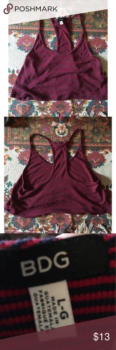 BDG racer back striped crop top BDG racer back striped crop top with thin straps. Super cute and light! Urban Outfitters Tops Crop Tops