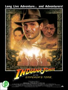 INDIANA JONES AND THE EMPEROR'S TOMB. Art by Drew Struzan. Poster designed by Jidé.