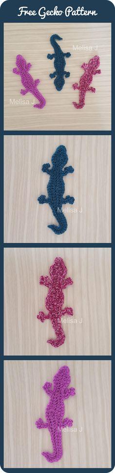 FREE Gecko Applique Motif crochet pattern - designed by Melisa J @ intheloopcrafts.blogspot.com