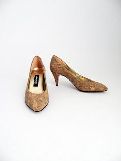 Vintage Cork Covered 80s Heels Women Shoes Sz 6.5 by TheDaveCave, $49.00