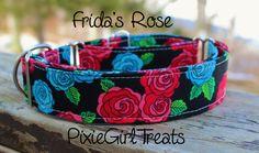 Red and Blue Rose Dog Collar, Handmade, Adjustable, Fabric Dog Collar, Side…
