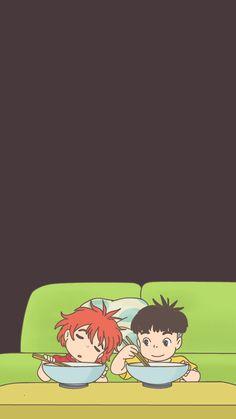 Ponyo e Sasuke Studio Ghibli Art, Studio Ghibli Movies, Totoro, Wallpaper Wa, Howls Moving Castle, Hayao Miyazaki, Anime Scenery, Cool Paintings, Animation Film