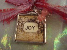 JOY  Soldered Art Glass Pendant by victoriacharlotte on Etsy, $10.00