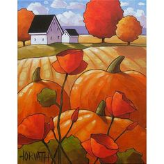 PAINTING ORIGINAL Folk Art Pumpkins Poppies Cottage Fields Modern Landscape Colorful Abstract Artwork by Cathy Horvath Buchanan 11x14. $149.00, via Etsy.