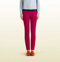 Gucci - fuchsia stretch flannel pant with leather waistband $850