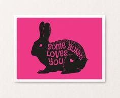 $4 Valentine Bunny Printable art valentine by SoulPrintables on Etsy