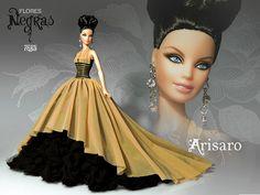 Flores Negras (Black Flowers). Barbie Ooak doll by David Bocci for Refugio Rosa.