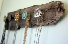jewelry, necklace, necklaces, holder, rack, recycled, found, wood, driftwood, doorknob, doorknobs, recycled, handmade, DIY