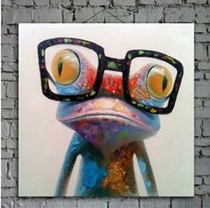 Pig With Glasses Painting Modern Home Decor Art I Like Pinterest
