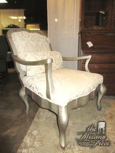 """Sam Moore bergere chair in a cream print on a distressed silver frame. Ideal for a formal room. Lovely lines! At posting, we have a pair of these. 33""""wide x 31""""deep x 38""""high.  Arrived: Friday November 11th, 2016"""