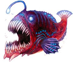 anglar fish- the inspiration for the water horses. at least in the face. Fish Cartoon Images, Cartoon Fish, Angler Fish Drawing, Adventure Time Tattoo, Weird Sea Creatures, Teeth Drawing, Monster Coloring Pages, Monster Fishing, Sea Monsters
