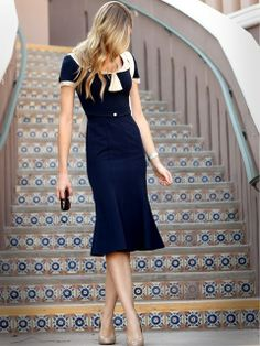 Navy Blue Short Sleeve Summer Dress