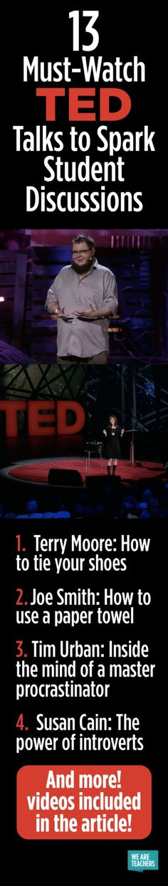 13 Must-Watch TED Talks to Spark Student Discussions - WeAreTeachers I particularly like the one on Lunch Ladies.