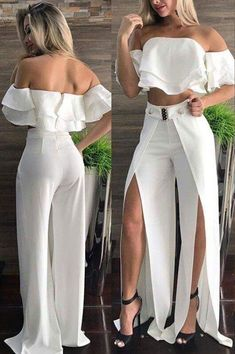 Summer 2018 trends and details White Pants OutfitShuttin' it down!Preppy Girls vs Urban Baddies young women fashion trends for 2018 and 2019 Soooo love this outfit ! Gotta find it !I couldn't wear this but it's so pretty Classy Outfits, Chic Outfits, Dress Outfits, Summer Outfits, Pants Outfit, Sexy Dresses, Fashion Dresses, Pinterest Fashion, Pinterest Pinterest