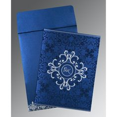 Give your wedding a special feel with our exclusive Blue, Shimmer Paper, Hindu Wedding Cards - W-8244K