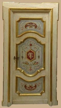 Reproductions of antique italian painted doors - Porte del Passato Custom Wood Doors, Wooden Doors, Door Design Interior, Interior Design Living Room, Italian Doors, Antique Doors, Hand Painted Furniture, Painted Doors, Arabesque