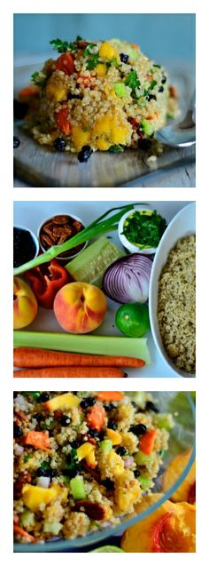 Use this week's peaches and red onions for Summertime Peach Quinoa Salad -- so light and fresh. Healthy Cooking, Healthy Eating, Cooking Recipes, Healthy Food, Peach Quinoa Salad, Vegetarian Recipes, Healthy Recipes, Summer Salads, Summer Food