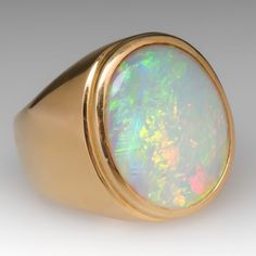 This incredible vintage mens ring features a massive and vibrant white opal cabochon bezel set in heavy yellow gold. This is an awesome ring that would look . Opal Jewelry, Jewelry Rings, Silver Jewelry, Silver Rings, Turquoise Jewelry, Gold Jewellery, Silver Bracelets, Opal Gemstone, Amethyst