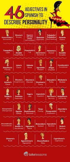 46 Spanish Adjectives to Describe All Your Friends [Printable] #learnspanish