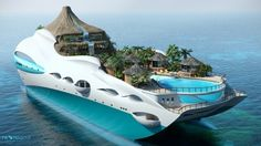 Tropical island mega yacht! Finally alan and I can agree on where to retire...