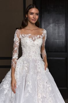 crystal design 2018 long sleeves square neck heavily embellished bodice princess a line wedding dress royal train (asha) zv -- Crystal Design 2018 Wedding Dresses Luxury Wedding Dress, Best Wedding Dresses, Designer Wedding Dresses, Bridal Dresses, Wedding Gowns, Wedding Dress Necklines, Wedding Dress Sleeves, Long Sleeve Wedding, Lace Dress