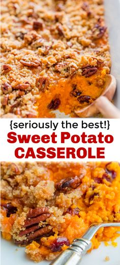 Sweet Potato Casserole with irresistible crunchy pecan topping. This sweet potato bake is smooth and puffs up while baking. A favorite Thanksgiving side! The post Sweet Potato Casserole Recipe appeared first on Tasty Recipes. One Dish Meals Tasty Recipes Best Sweet Potato Casserole, Sweet Potato Dishes, Sweet Potato Recipes, Baked Sweet Potatoes, Sweet Potato Cassarole, Roasted Potatoes, Thanksgiving Side Dishes, Thanksgiving Recipes, Fall Recipes