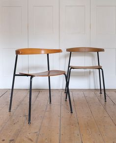 Terence Conran; #C20 Bent Beech, Molded Plywood and Enameled Metal Chairs, 1960.