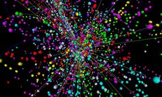 A simulation of a particle collision inside the Large Hadron Collider. When two protons collide inside the machine, they create an energetic explosion that gives rise to new and exotic particles - including, perhaps, the Higgs boson.