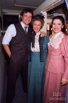 "/07/98 Hugh Jackman,maureen Lipman & Josefina Gabrielle at the Opening Night of ""Oklahoma"" Musical at the National Theatre in London. Photo ..."