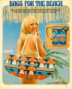 Genuine  Vintage 1970s Ladies FUN 'Bags For The Beach' Sewing Pattern Sailor Girl, Retro, Groovyx