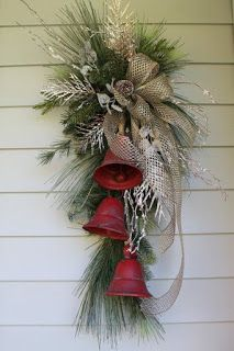 Rustic Farmhouse Metal Bell Swag - Rustic Farmhouse Metal Bell Swag Bring a tou. - Rustic Farmhouse Metal Bell Swag – Rustic Farmhouse Metal Bell Swag Bring a touch of festive sty - Christmas Swags, Christmas Door Decorations, Christmas Centerpieces, Christmas Holidays, Christmas Bells, Holiday Wreaths, Christmas Door Wreaths, Burlap Christmas, Gold Christmas