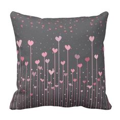 Pink Hearts On Black Background Throw Pillow