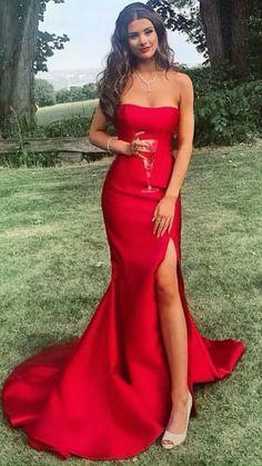 Strapless Prom Dresses, Cute Prom Dresses, Prom Outfits, Women's Dresses, Long Dresses, Red Dress Prom, Party Dresses, Prom Dresses With Slits, Red Slit Dress