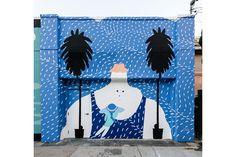 Long Beach art by Brendan Monroe Graffiti Murals, Murals Street Art, Street Art Graffiti, Beach Mural, Beach Art, Mural Wall Art, Mural Painting, Paintings, Amazing Street Art