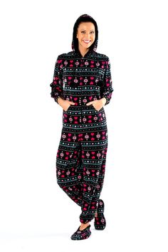 Ruby Onesie - Ladies Really soft onesie with a kangeroo pocket, fur lined hood and pom pom bobbles. Also in Pink. £24 Sizes 10-20.