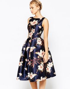 I like the cut but the colour might be a bit dark... Chi Chi London | Chi Chi London Full Prom Skater Dress In Floral Print at ASOS