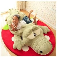 60cm Cute Crocodile Lying Section Plush Pillow Mat Plush Hand Doll Stuffed Toy Cartoon Plush Toys Kids Prize Gift WJ496