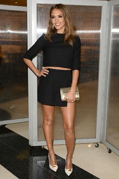How To Wear A Crop Top When You're A Grown-Up...   via Grazia Fashion   Jessica Alba in Black Crop Top + Skirt   #celebrity #style