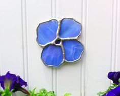 Handmade Stained Glass Sun Catcher  Blue Flower by JBsGlassHouse