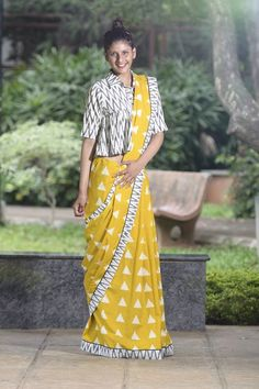 Yellow Geometric Printed Saree    #GeometricPrint, #Saree, #Cotton